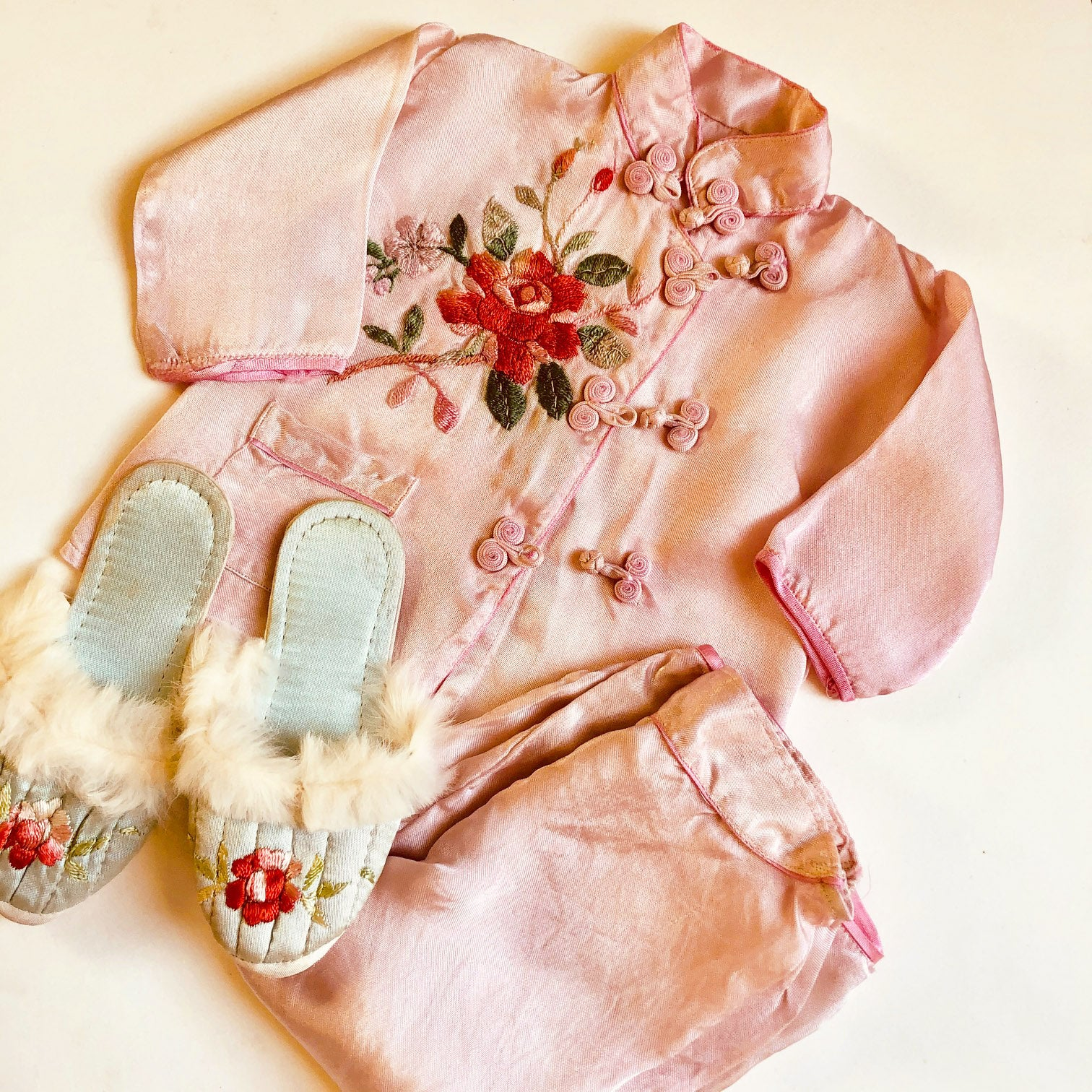 1940's Embroidered Pajamas with slippers size 12-18 months