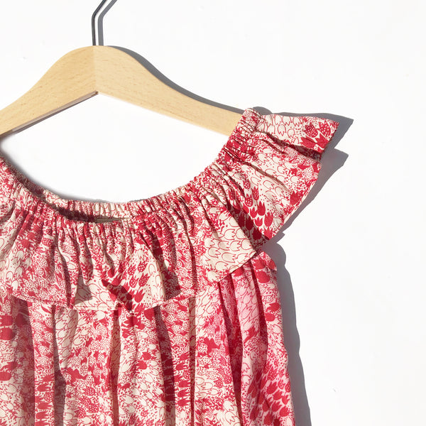 Ella Re-purposed Ruffle Top Dress In Tulip print size 6