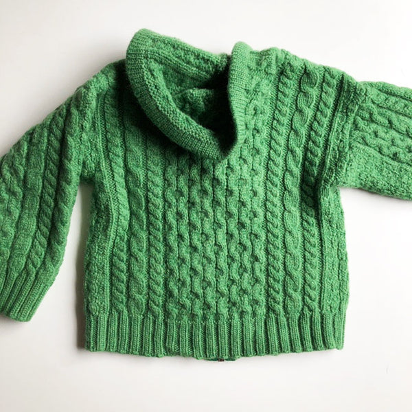 Green cable knit sweater from Ireland size 3-4