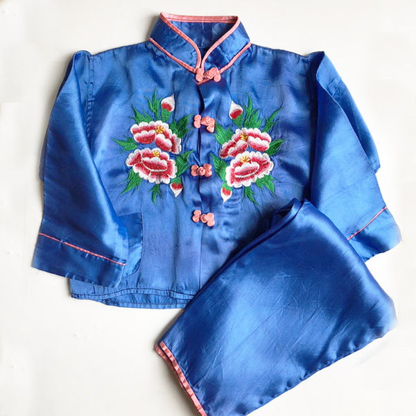 Embroidered Floral Pajama set size 4-5