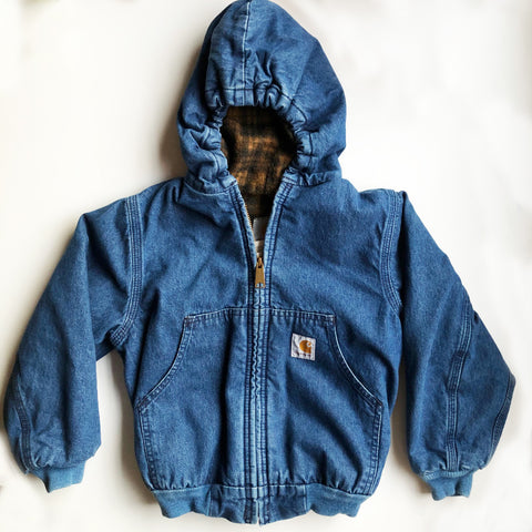 Carhartt Preloved Denim hooded jacket size 6-7