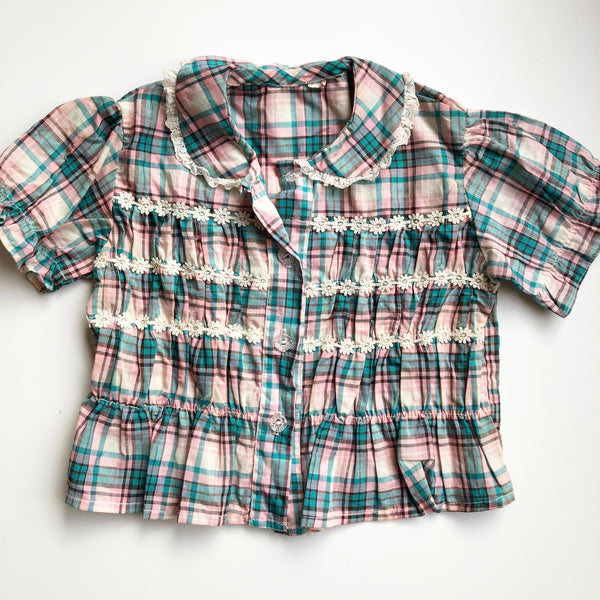 Plaid Preloved Little Blouse size 2-3