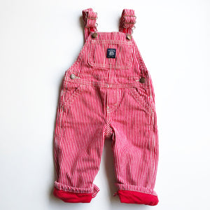 Osh Kosh Red and White Hickory Stripe Lined Overalls size 12 months