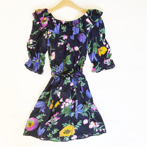 Isla Re-purposed Puff Sleeve Dress in Floral Georgette size 6