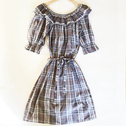 Isla Re-purposed Puff Sleeve Dress in Lurex Plaid size 12