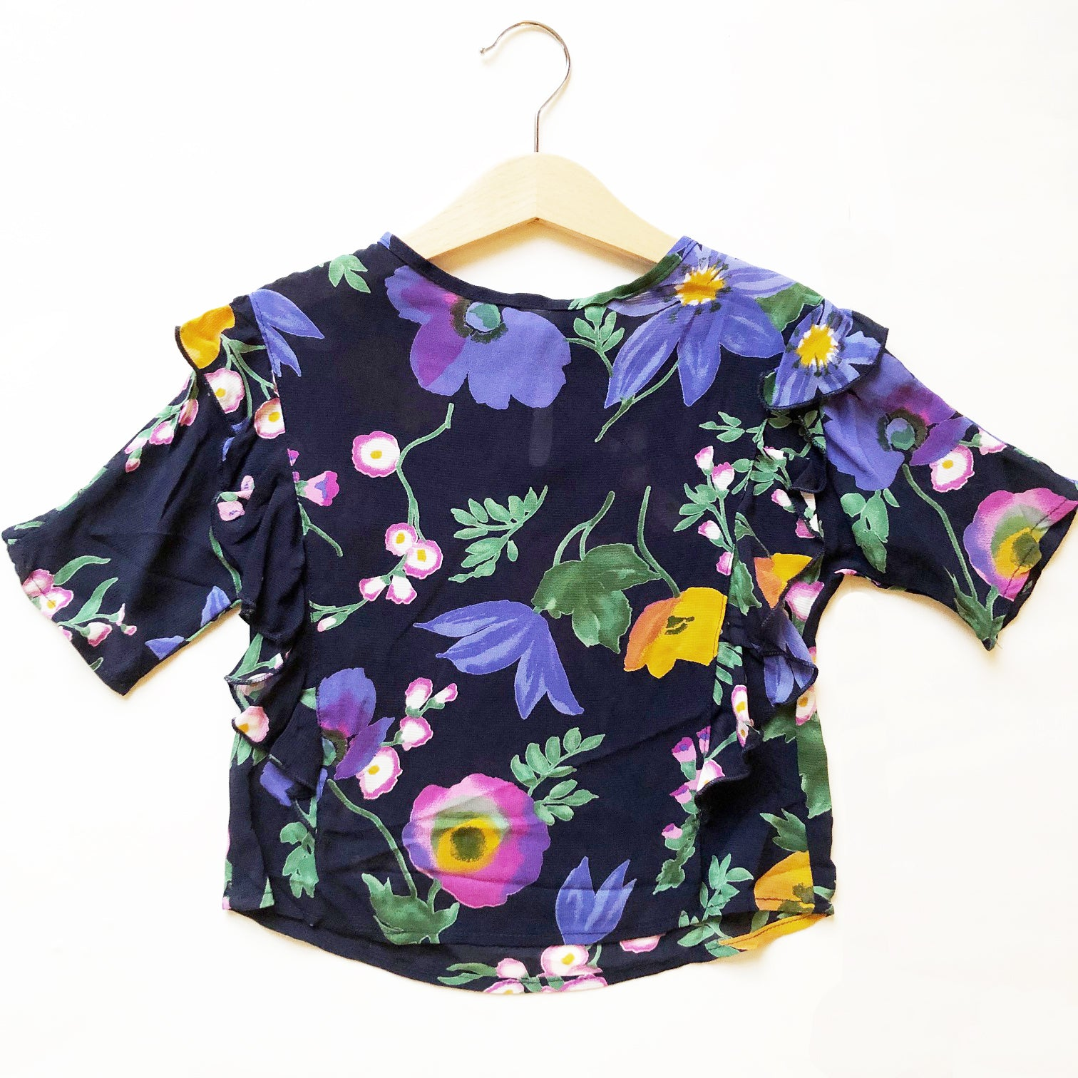 Ava Re-purposed Ruffle Blouse in Floral Georgette size 4
