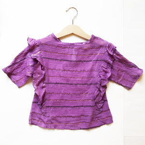 Ava Re-purposed Ruffle Blouse in Heather Metallic Stripe size 4