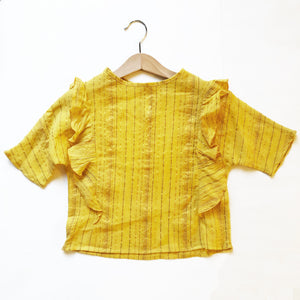 Ava Re-purposed Ruffle Blouse in Saffron Metallic Stripe
