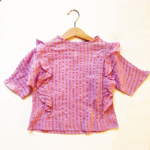 Ava Re-purposed Ruffle Blouse in Lilac Metallic stripe