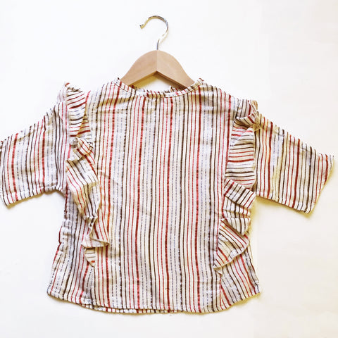 Ava Re-purposed Ruffle Blouse in Multi Metallic Stripe