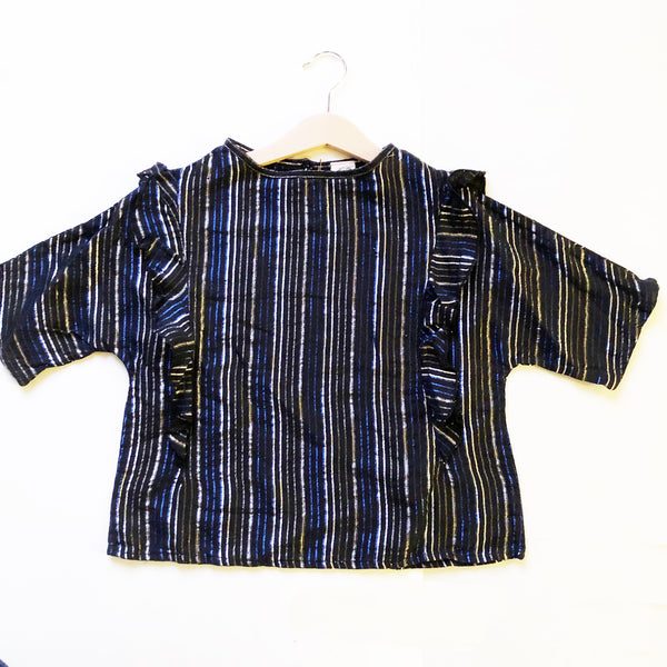 Ava Re-purposed Ruffle Blouse in Black Metallic Stripe