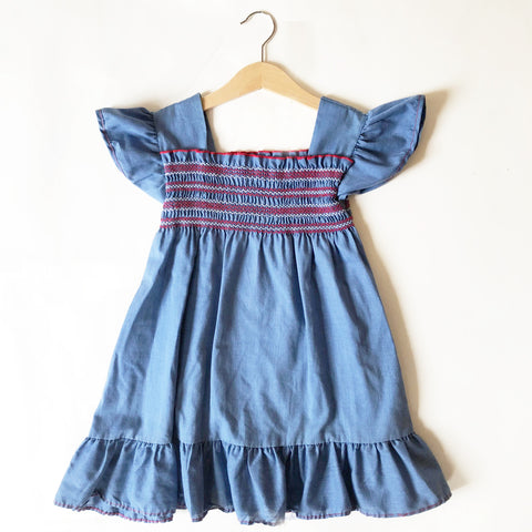 Pretty Chambray Smocked Dress size 2-3