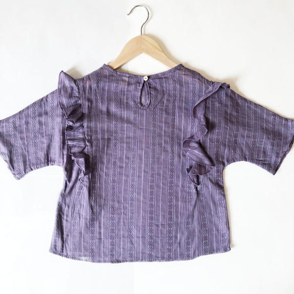 Ava Re-purposed Ruffle Blouse in plum size 8