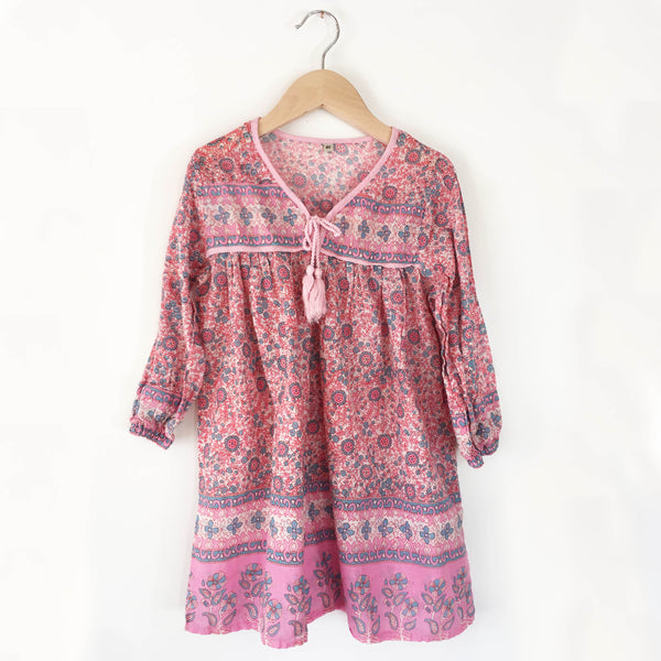 India peasant dress Pink Vine