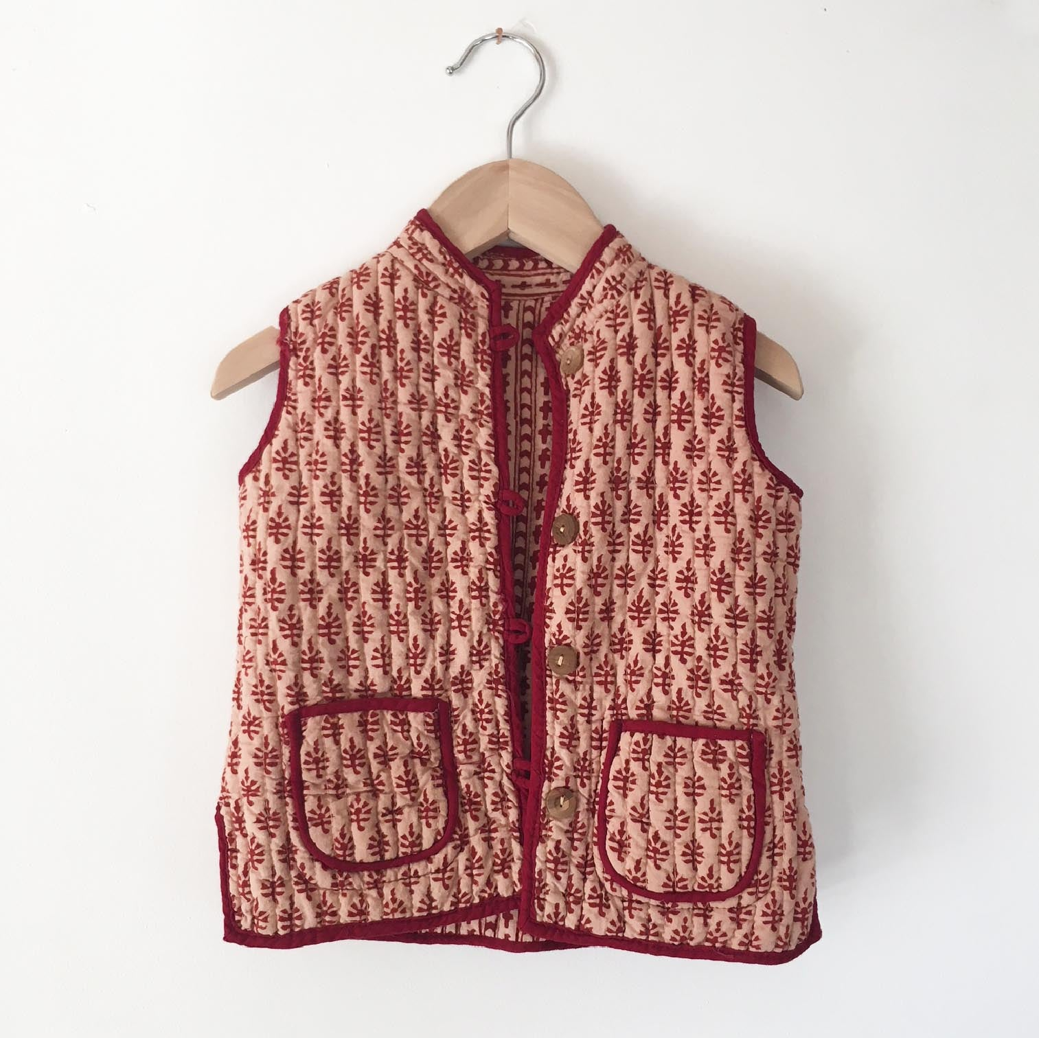 Quilted india blockprint vest size 2-3