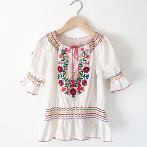Hungarian embroidered peasant blouse size 6-8