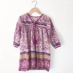 India peasant dress Purple Vine