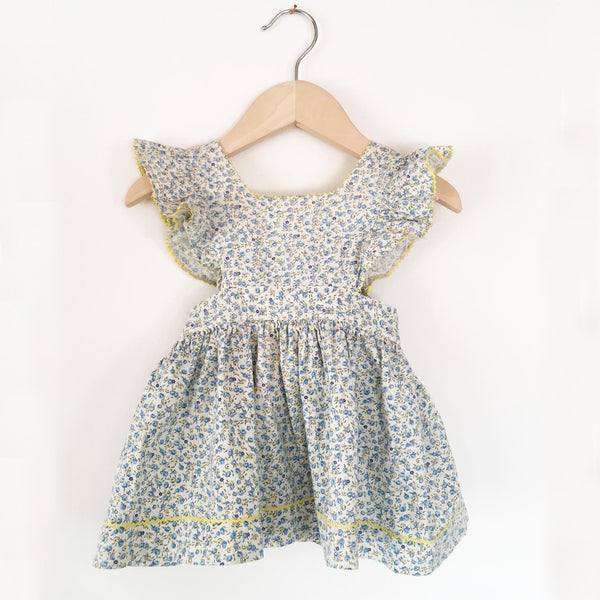 Calico pinafore frill dress size 6-12 months