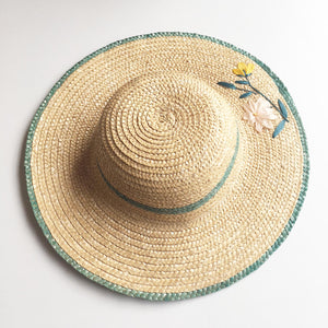 Embroidered raffia straw hat