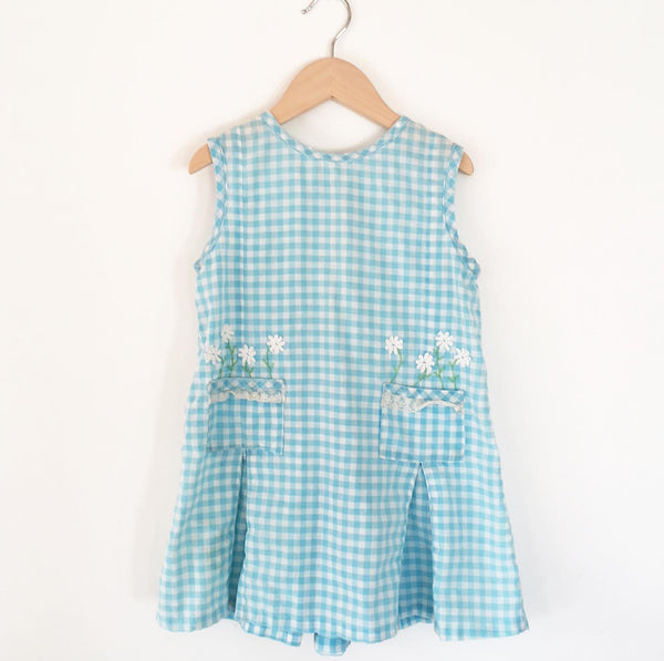 little Gingham dress with daisy embroidery Size 3-4