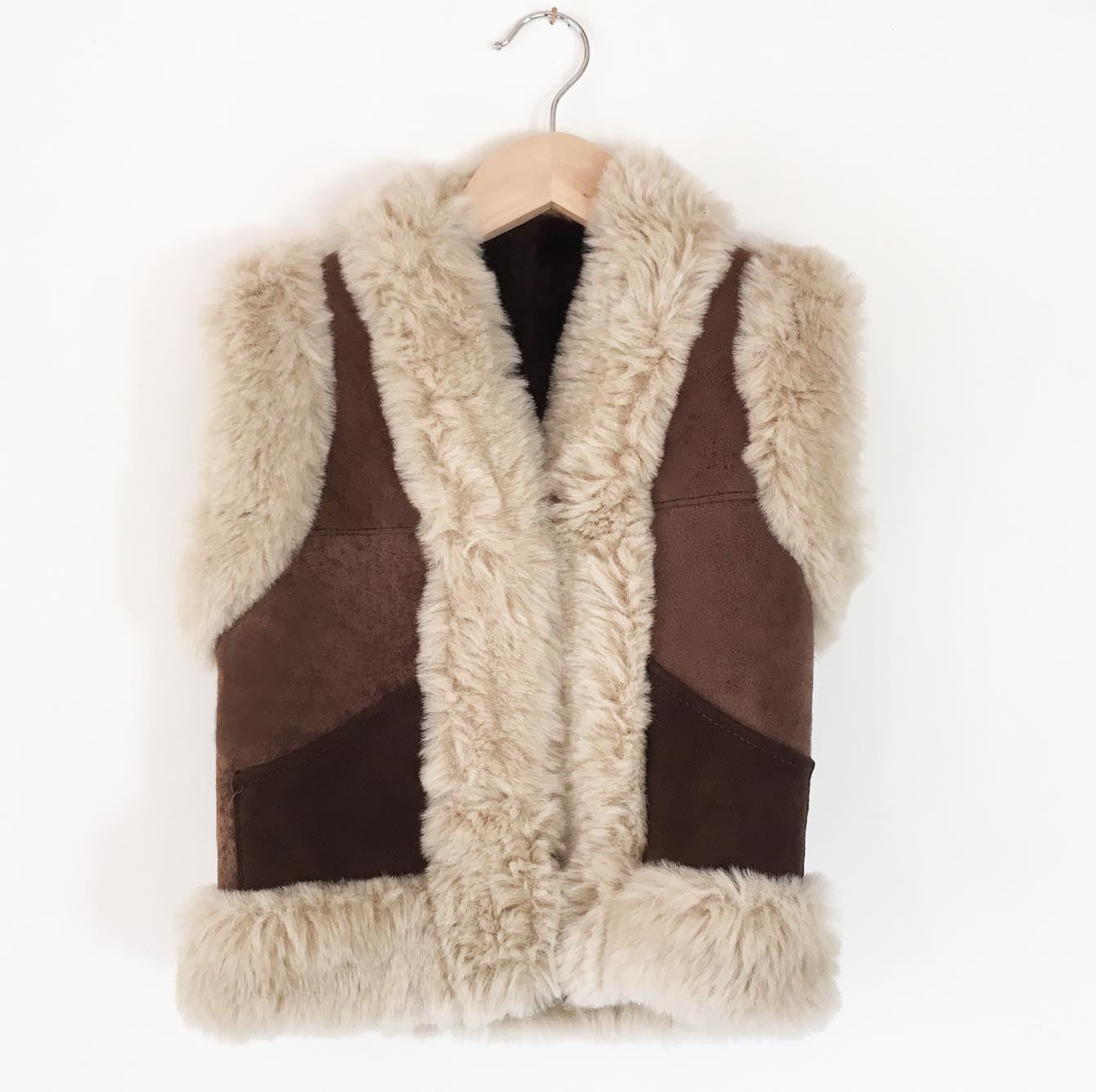Suede and faux shearling vest size 6-8
