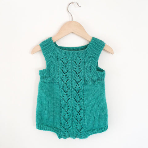 Hand knit baby romper size 6-12months