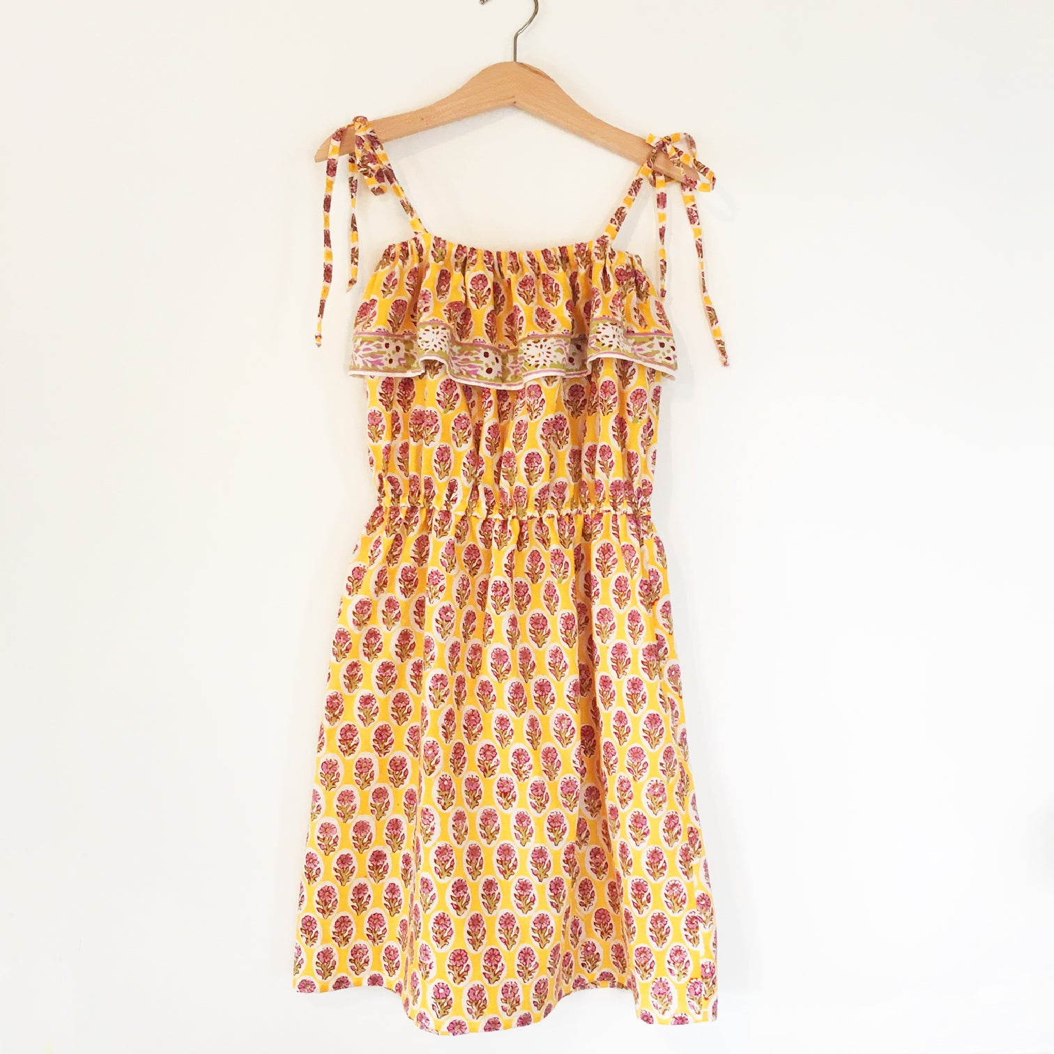 Chloe Re-purposed  fabric Dress Yellow Block Print