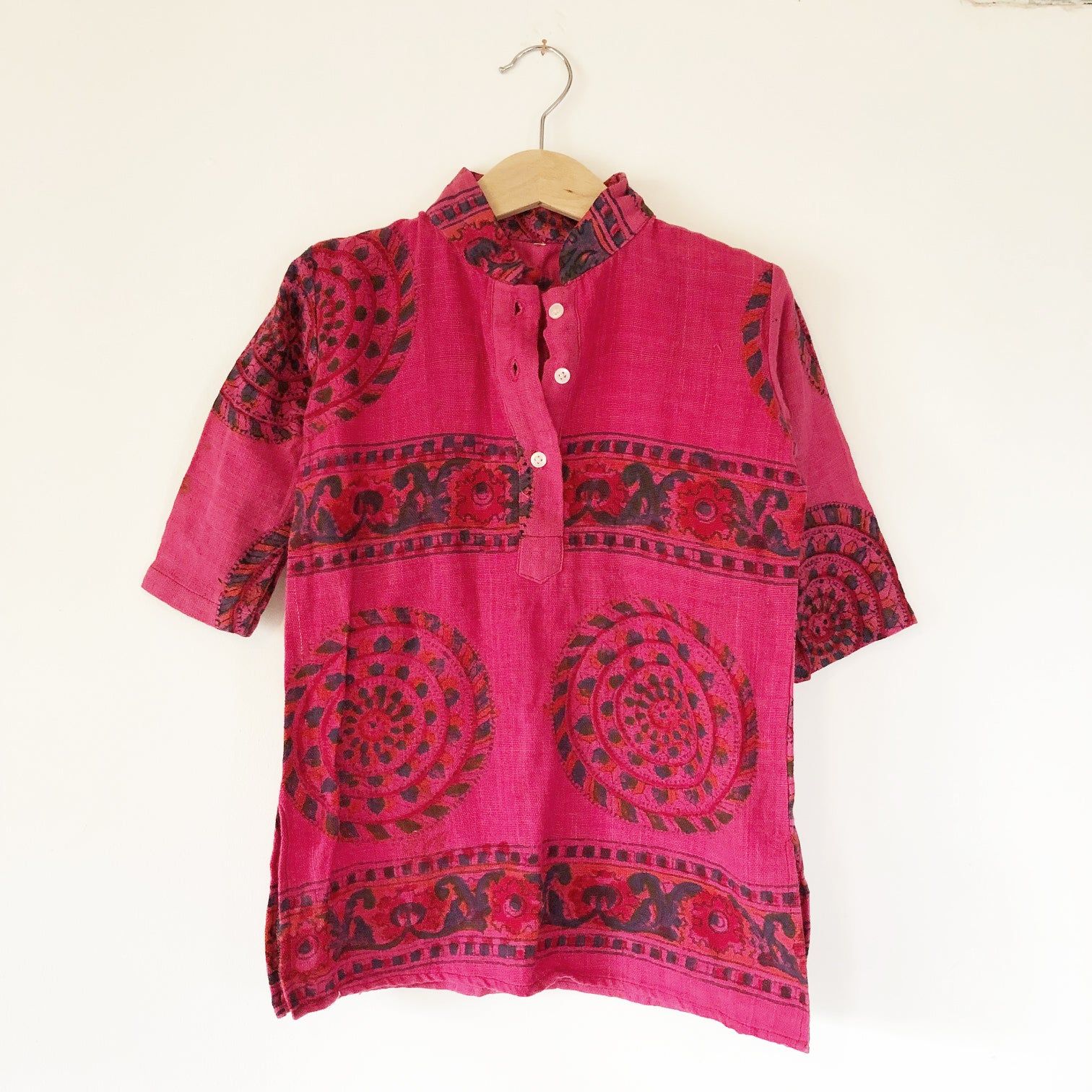 India Vintage Blockprint shirt Size 2-3