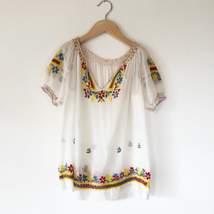 Vintage Embroidered Hungarian Blouse size 10-12