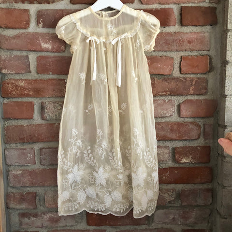 Victorian Baby Dress with Embroidery detail and Ribbons size 6-12 months