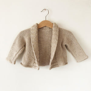 Baby Oatmeal Hand knit Cardigan size 3-6 months