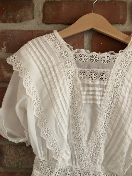 Victorian Broderie Anglais blouse size 8-10