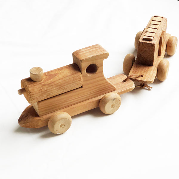 Vintage Hand Made Toy Train and Carriage