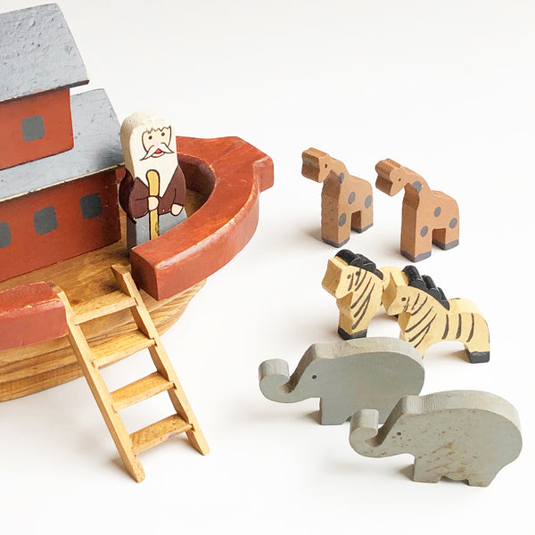 Vintage Wooden Noah's Ark with Animals