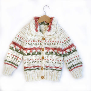 Crochet Knit Cardigan with Multi knit Size 2-3