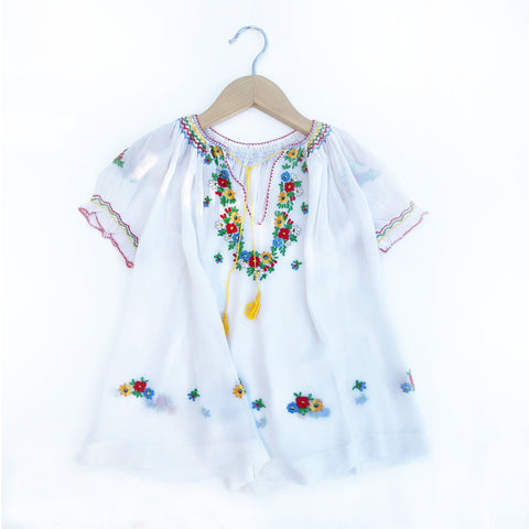 Vintage Hand Embroidered Peasant Dress size 2-3 Or as a Blouse Size 4-5