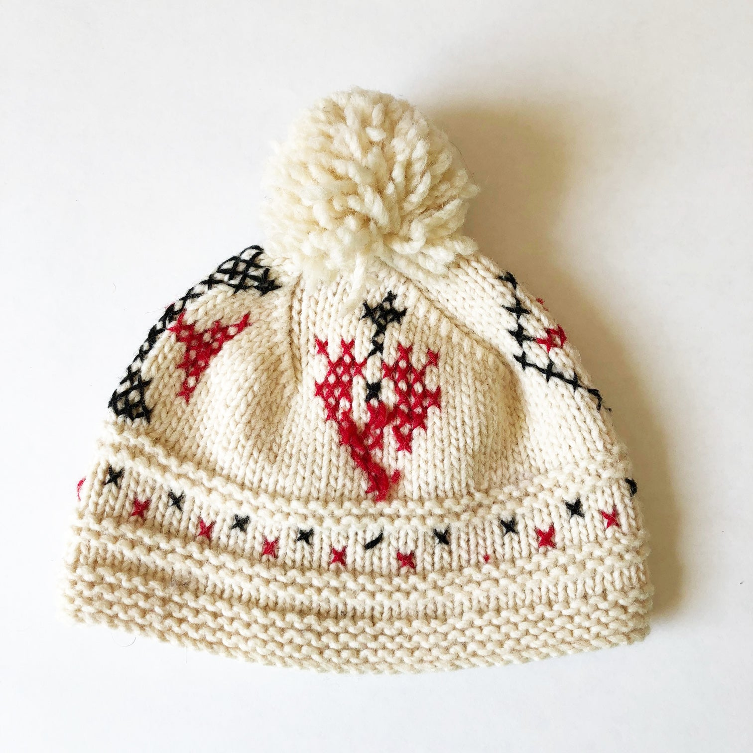 Hand knit Vintage Embroidered Hat size 12-24 months.