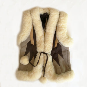 Amazing Vintage Shearling and Patchwork Suede Vest size 9-10