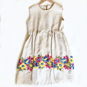 Hand Made Linen Dress with Embroidery size 5-6
