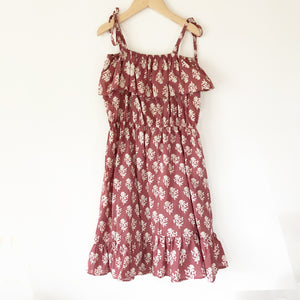 Chloe Repurposed Dress in Plum block print