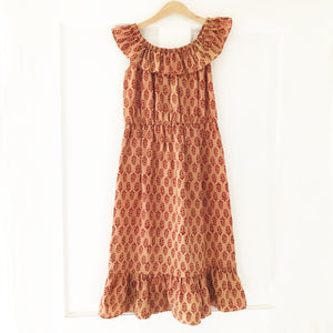 Ella Re-purposed Ruffle Top Dress In Rust block print