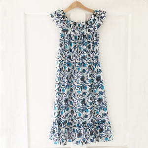 Ella Re-purposed Ruffle Top Dress In Aqua vine