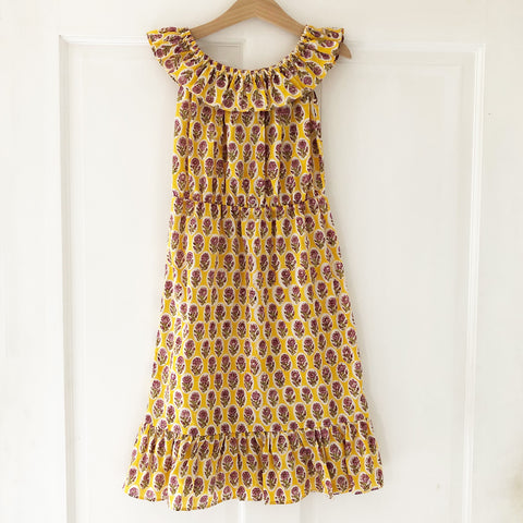 Ella Re-purposed Ruffle Top Dress in Yellow block print size 4