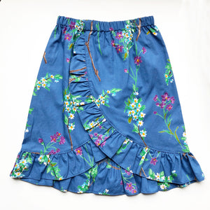 Sara Re-purposed Ruffle Skirt In Blue Vine print