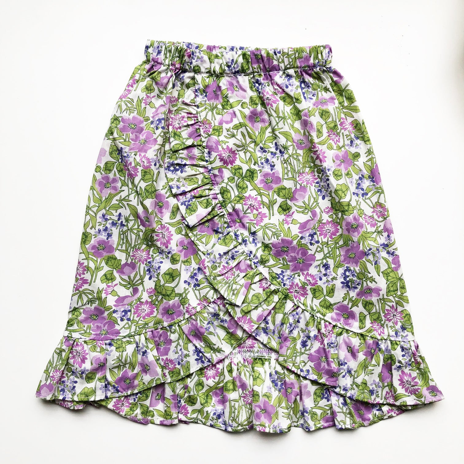 Sara Re-purposed Ruffle Skirt In Lilac Liberty print size 2