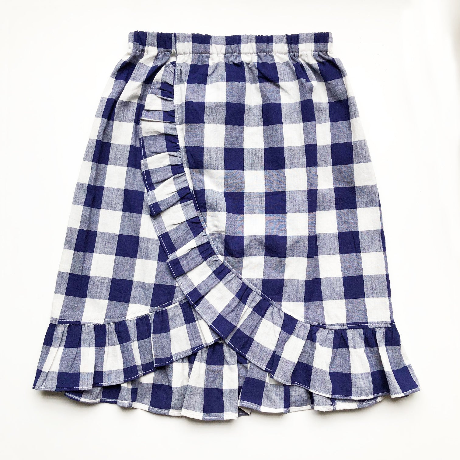 Sara Re-purposed Ruffle Skirt In Blue Gingham size 6