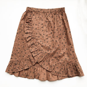Sara Re-purposed Ruffle Skirt In Brown Calico print size 6