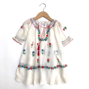 Vintage Hungarian Embroidered Peasant Dress Size 3-4 or Blouse size 5-6