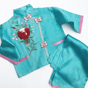 Vintage Embroidered Cheongsam Pajamas size 12-24 months.