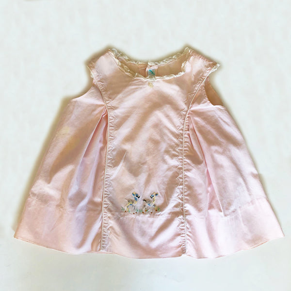 Vintage Baby Dress with Embroidered Deer size 6-12 months